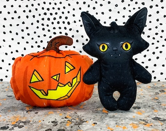 Black Cat with Pumpkin Plush Set - Halloween decoration dolls made from super soft custom printed fabric - Spooky home decor- LARGE SIZE -A