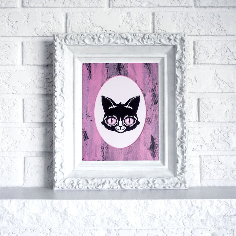 Cat Print in Hand Painted Mat   Ready to frame art print in image 0