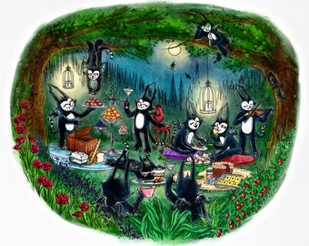 Art Print - Batcat Teaparty - 8 x 10 - Secret monster picnic party in the forest