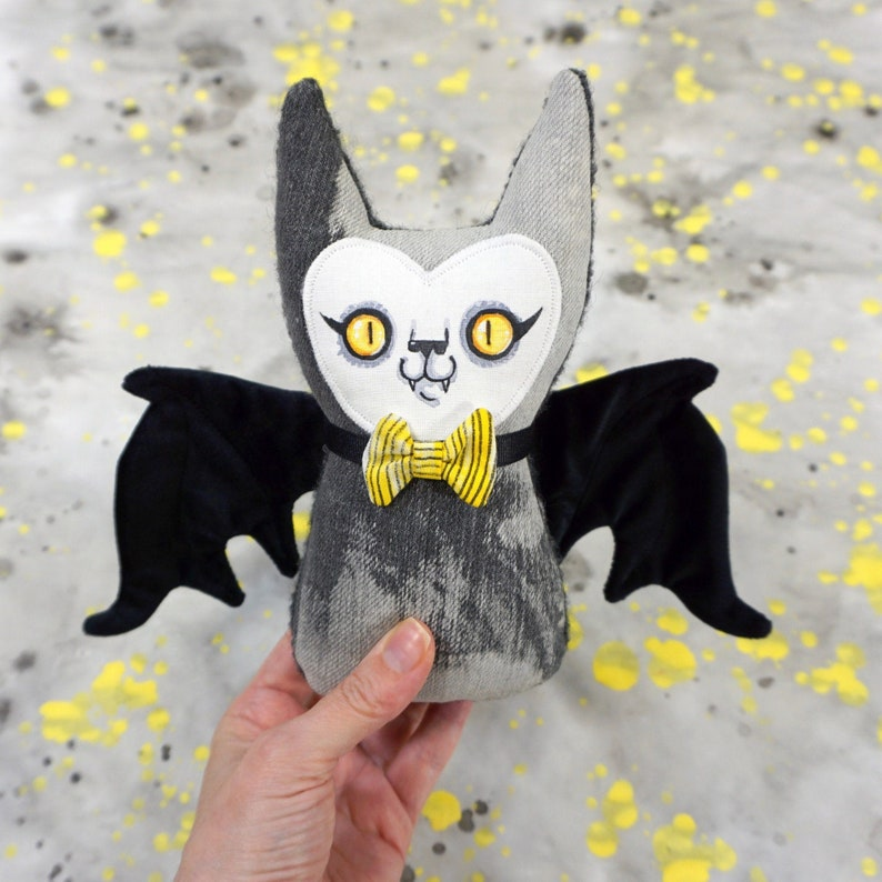 Stuffy Bat  Handpainted face with velvet and faux leather image 0