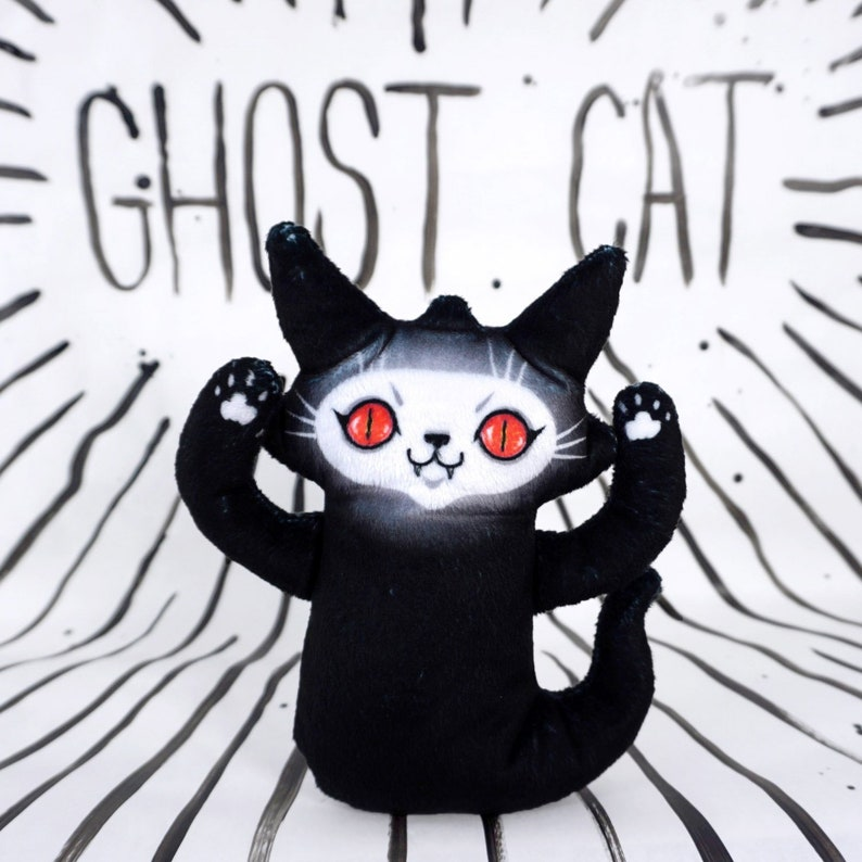 Ghost Cat Plush  Super soft doll  Red Eyes Troublemaker  image 0