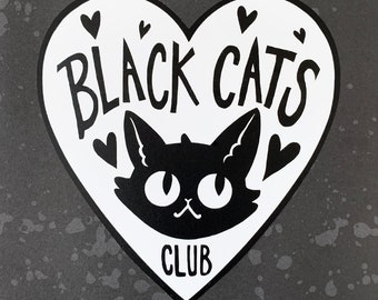 Decal - Black Cats Club - Permanent Outdoor Decal - Durable Vinyl sticker for your car, home, laptop ANYWHERE
