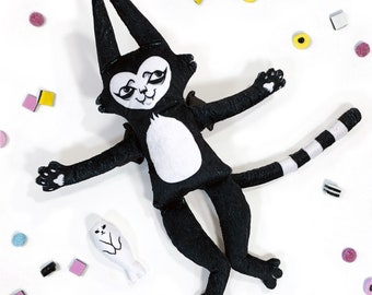 Stuffy Batcat - Soft black and white monster cat plush doll with baby seal friend to hug