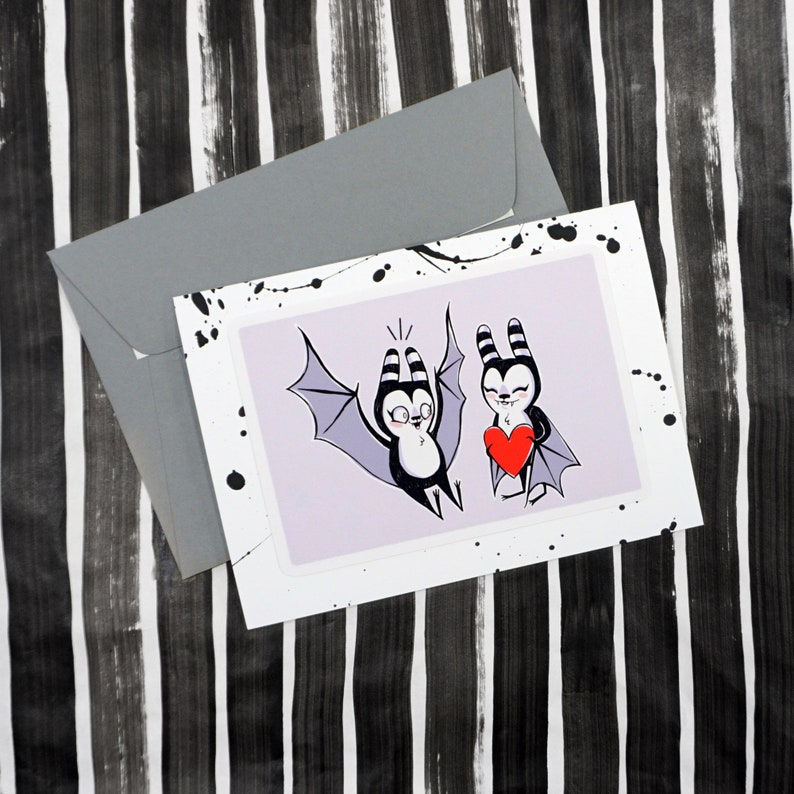 Love Bat Hand Painted Card  Black spatter card with purple image 0