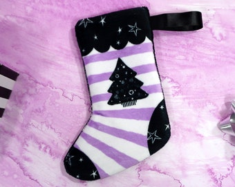 Mini Spooky Stocking - Black Christmas Tree with stripes Stocking - Made from super soft minky fabric - Custom printed