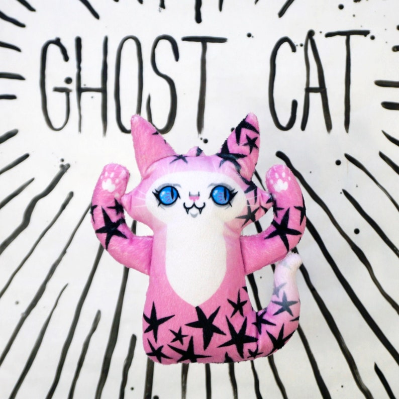 Ghost Cat Plush Toy  Spooky cute kitty doll  Comes with free image 0