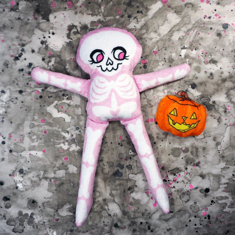 Pink Skeleton Doll  Halloween Special comes with pumpkin image 0