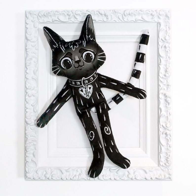 Black Cat BFF  an illustrated best friend doll made from soft image 0