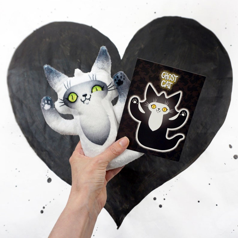 Ghost Cat Plush Toy  Spooky cute doll to blame your bad deeds image 0