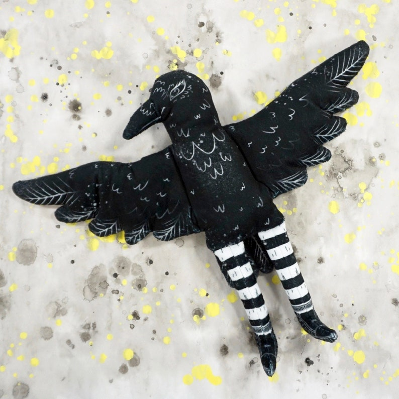 Crow  Soft and Spooky Plush doll made from illustration  image 0