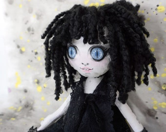 OOAK Doll - Handmade cloth doll with yarn hair, hand painted face, velvet body and lace dress - Sophie in the Summer