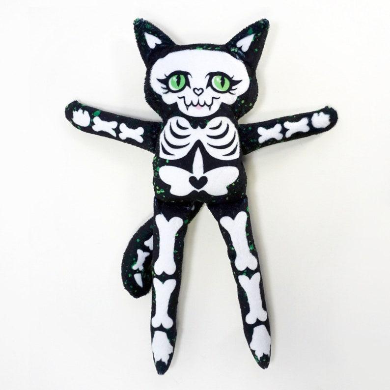 Cat Skeleton Doll  Super Soft Minky Fabric Spooky Plush  image 0