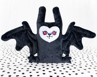 Floppy Bat - Dark gray bat with a cute face - Super Soft stuffed doll
