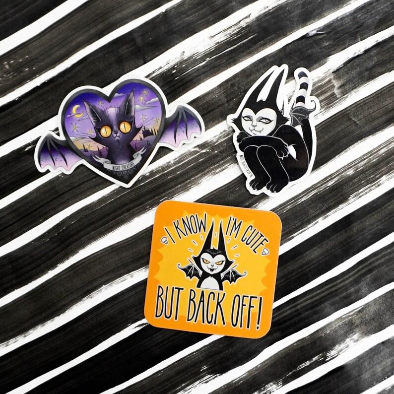 Sticker Pack  Three spooky cute vinyl stickers  water image 0