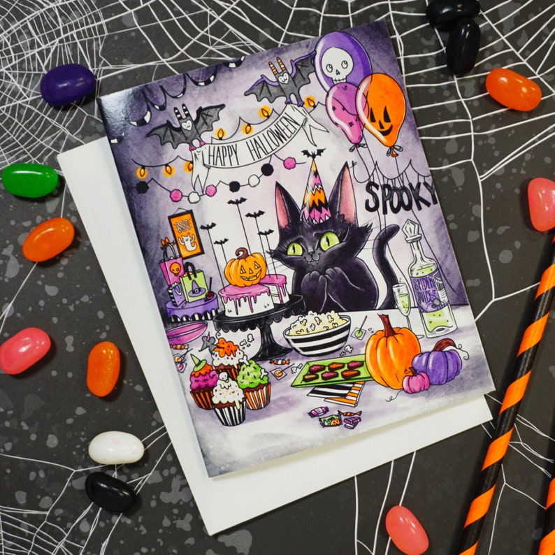 Halloween Party Cat  A glossy blank card featuring image 0