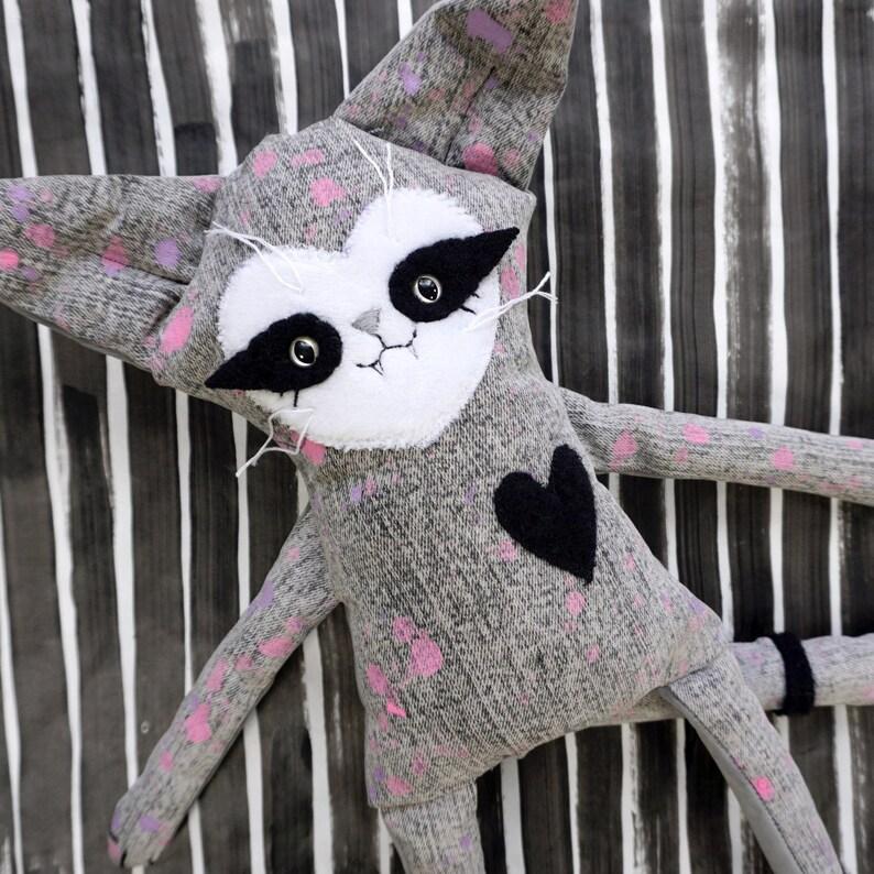 Distressed Denim Cat Doll  OOAK denim and soft grey velvet image 0