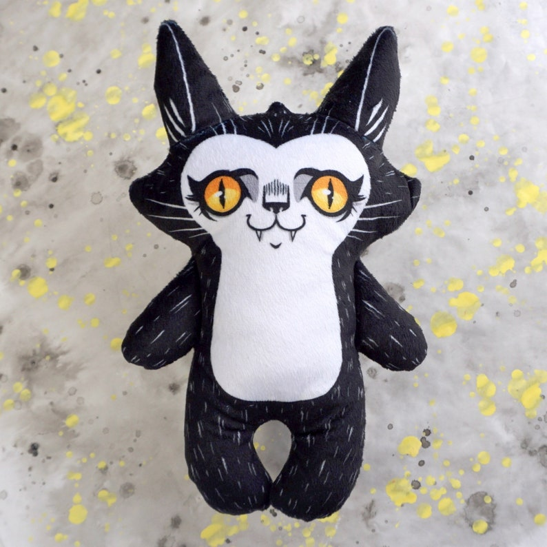 Spooky Cute Cat Doll  black and white illustrated plush cat image 0