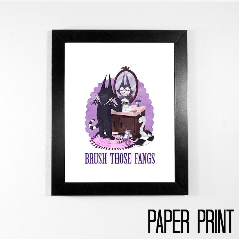 Art Print  Brush Those Fangs  8 x 10  Batcat brushing his image 0
