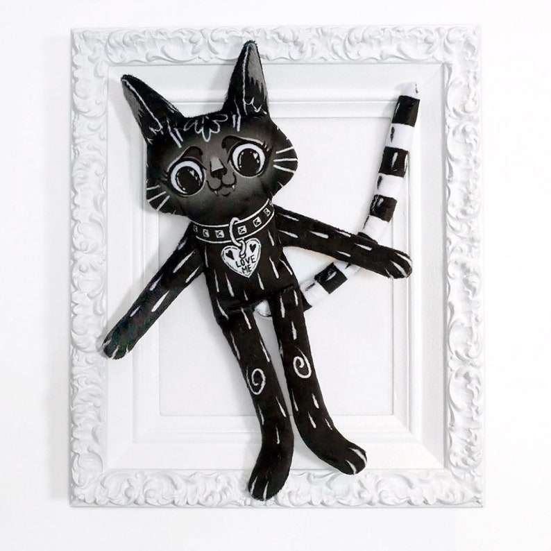 Black Cat BFF  Best friend cat doll with long striped tail  image 0