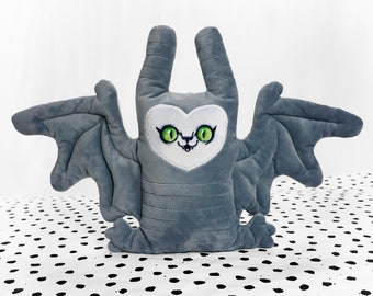 Floppy Bat - Super Soft stuffed animal and pillow bed decor - gray bat with a cute face with green eyes - perfect for cuddling -BLPOOAK705