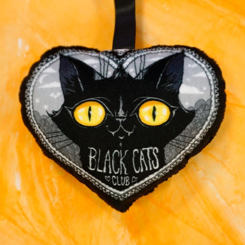 Black Cats Club MINI pillow Soft fabric charm accessory to image 0