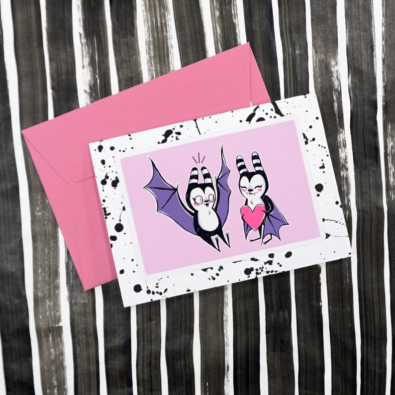 Love Bat Hand Painted Card  Black spatter card with pink image 0