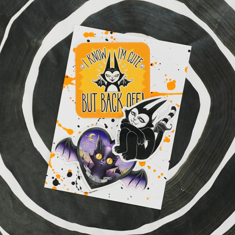 Sticker Pack  Three spooky cute vinyl stickers  water image 0