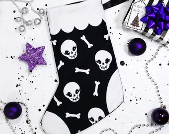 Spooky Stocking - Christmas stocking with cute skulls made from super soft minky fabric - Custom printed  #BLPSTK202