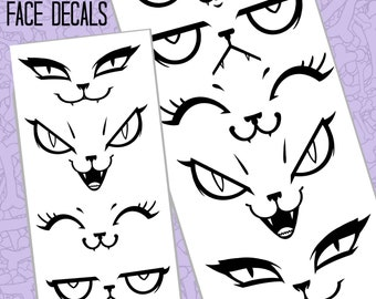 Decals - Cute face vinyl stickers to add to cars, flowerpots, bottles, boxes, crafts. Waterproof and permanent high quality matte black