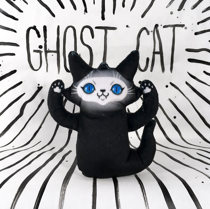 Ghost Cat Plush Toy  Spooky Kitty Doll with blue eyes that image 0