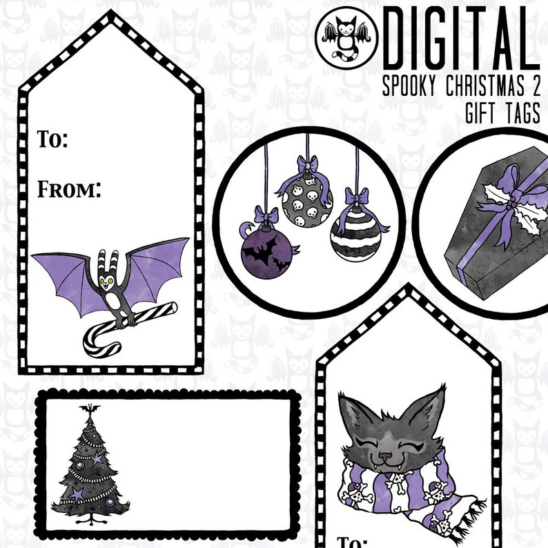 Spooky Christmas 2 Goth Gift Tag Stickers Instant Digital image 0