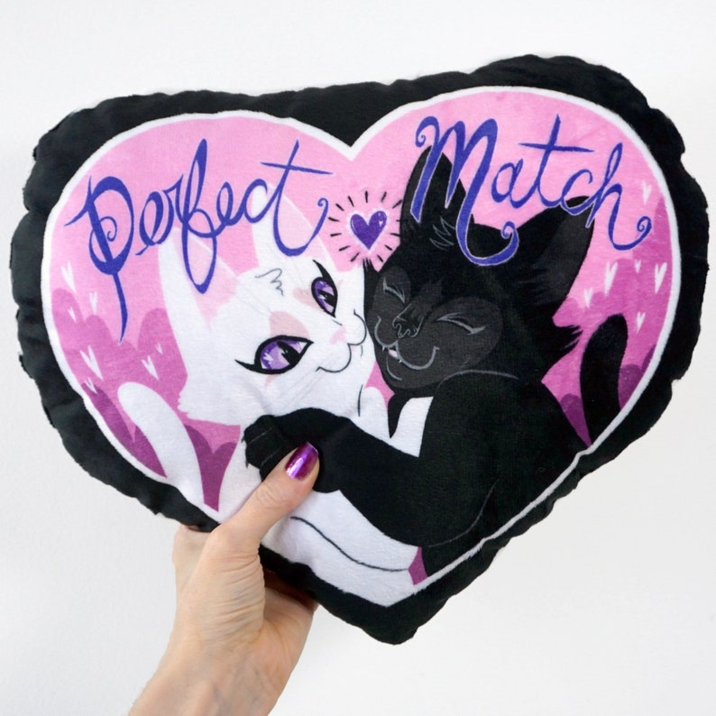 Black Cat and White Cat Pillow Plush  Perfect Match   Super image 0