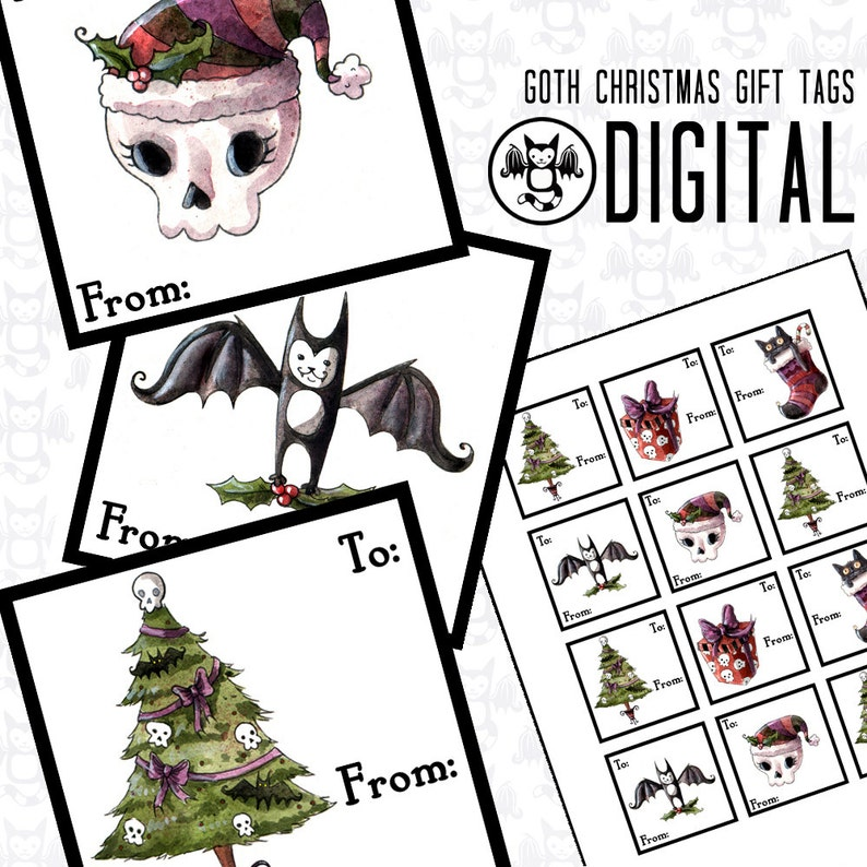 DIGITAL Spooky Christmas Goth Gift Tag Stickers Instant image 0