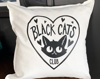 Black Cats Club Pillow Cover - White Cotton throw pillow cover with vinyl image - Cat Lover's decor - Pillow not included