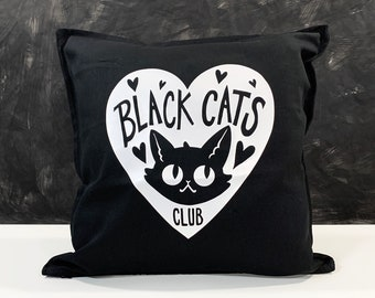 Black Cats Club Pillow Cover - Black Cotton throw pillow cover with vinyl image - Cat Lover's decor - Pillow not included