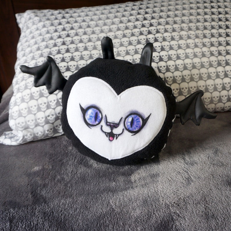 Fat Bat Plush Toy  Black and white striped doll with a cute image 0