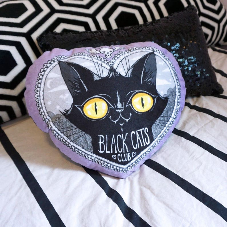 Black Cats Club Pillow Soft minky decor bed accessory  free image 0