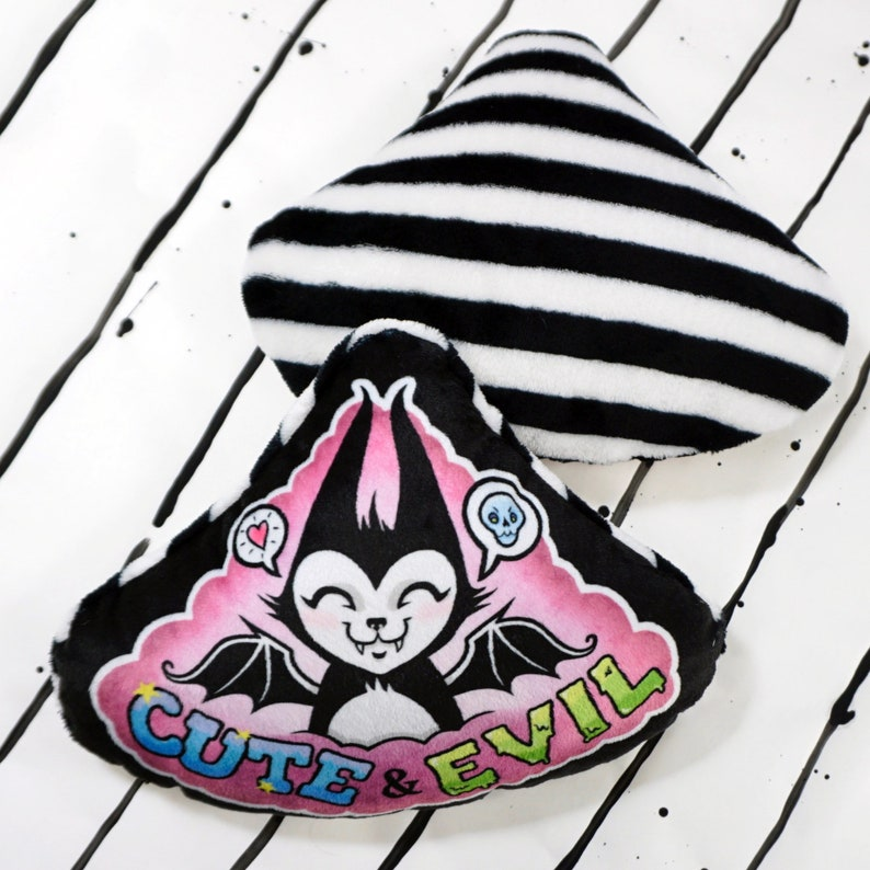 Cute and Evil Batcat  Super soft mini pillow for your bed or image 0