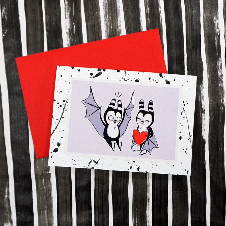 Love Bat Hand Painted Card  Black spatter card with red image 0