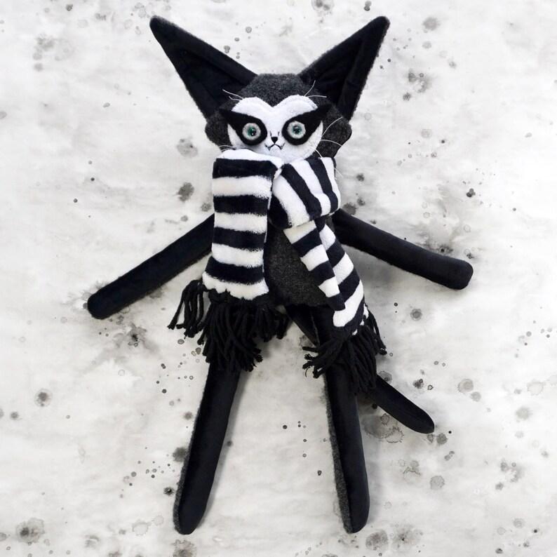 Felted Wool Cat Doll  OOAK gray wool and black velvet plush image 0