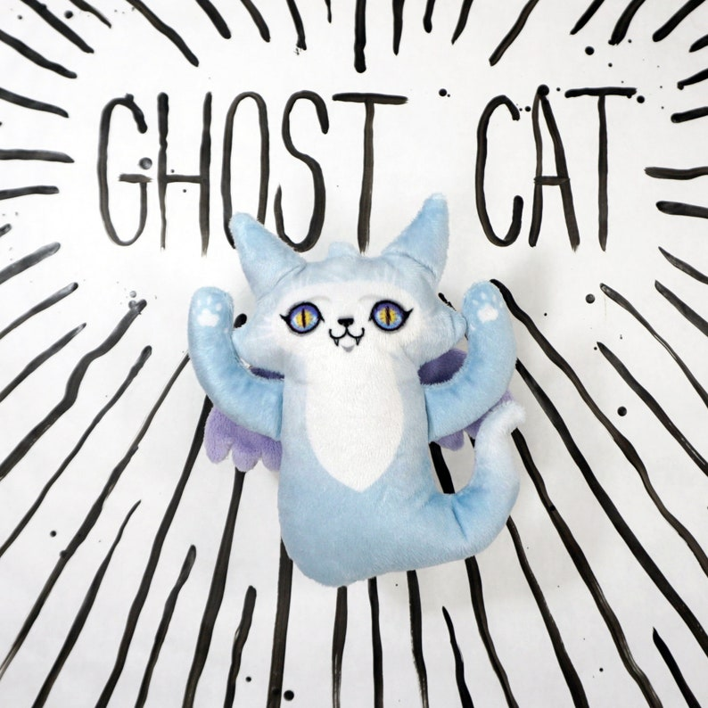 Ghost Cat Plush Toy  Blue Angel Spooky Doll image 0