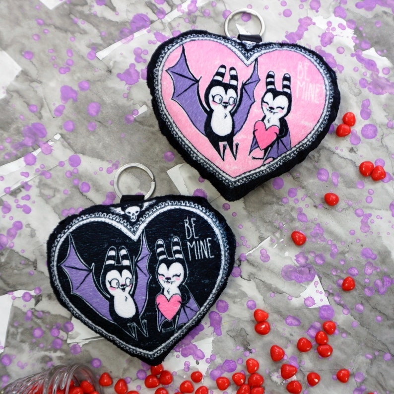 Be Mine Bats  Soft fabric charm accessory with silver image 0