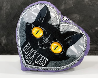 Black Cats Club Pillow - Super soft heart shaped pillow with cute black cat face