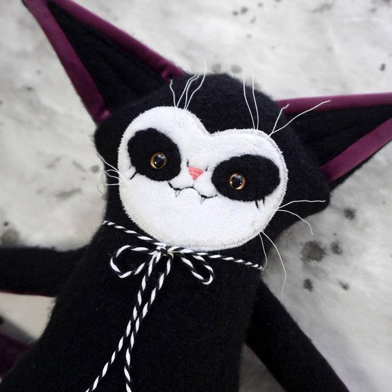Felted Wool Cat Doll  OOAK black wool and purple velvet plush image 0