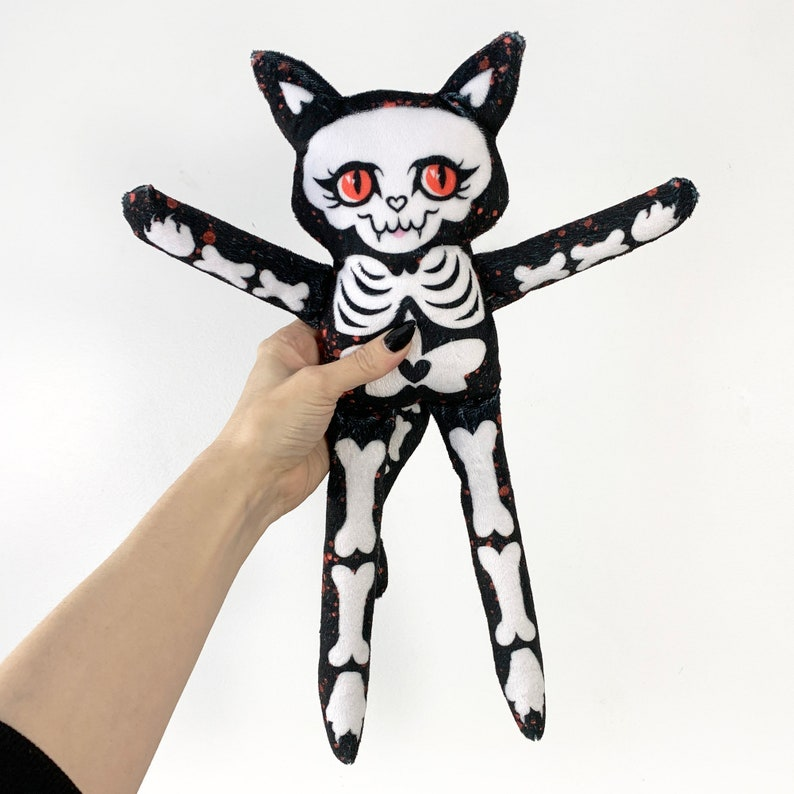 Cat Skeleton Doll  Super Soft Minky Fabric Spooky Plush  Red image 0