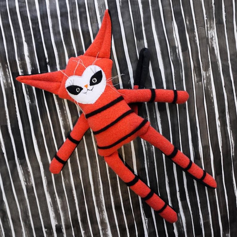 Felted Wool Cat Doll  OOAK orange and black wool and velvet image 0