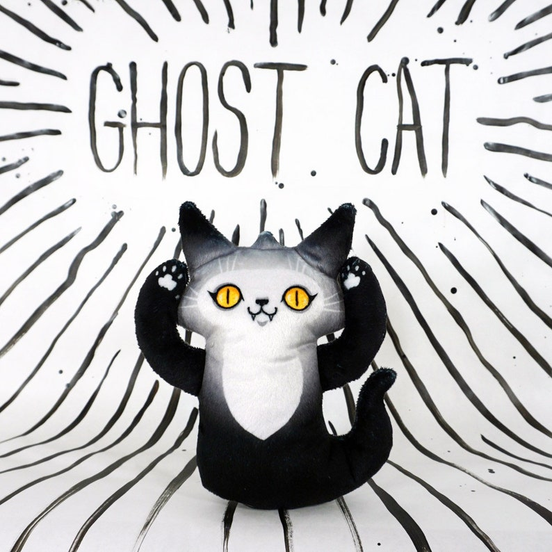 Ghost Cat Plush Toy  Spooky cute kitty doll with yellow eyes image 0
