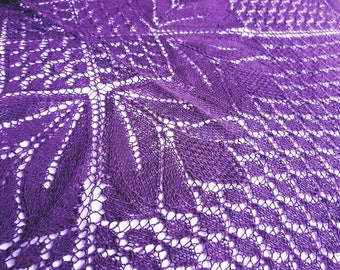Lace shawl in deep purple, hand knitted.