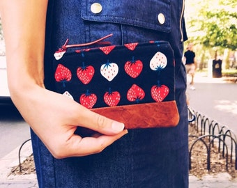 Leather Strawberry Coin Purse, Leather Pouch, Small Wallets for Women, Gift for Her