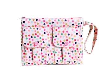 Polka Dot Pink Wristlet Wallet, iPhone Wristlet, Womens Wristlet Bag, Cell Phone Wallet, Fabric Wallet, Large Wristlet